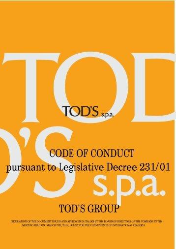 CODE OF CONDUCT pursuant to Legislative Decree 231/01 TOD'S ...