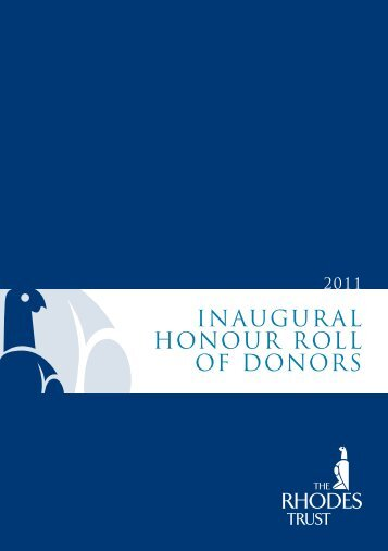 Inaugural Honour roll of Donors - The Rhodes Trust