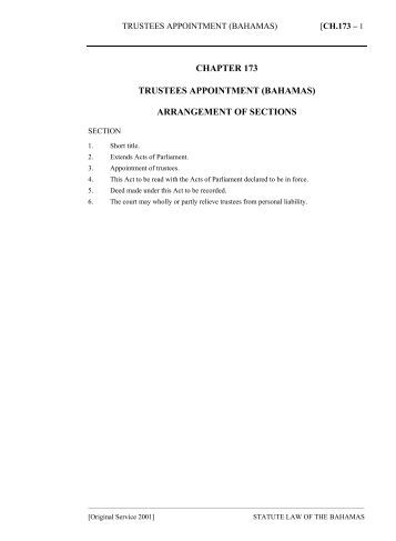 Trustees Appointment (Bahamas) Act - The Bahamas Laws On-Line