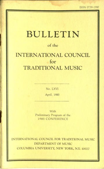 Apr 1985 - International Council for Traditional Music