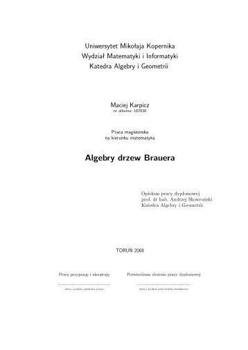 Algebry drzew Brauera - Wydział Matematyki i Informatyki