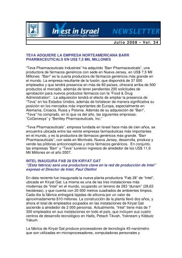 Julio 2008 • Vol. 34 TEVA ADQUIERE LA ... - Invest in Israel