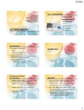 Electrochemistry (Ch 17) - AP Chemistry
