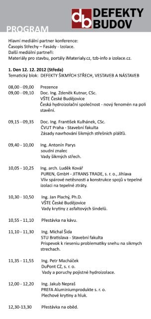 Program konference DEFEKTY BUDOV 2012