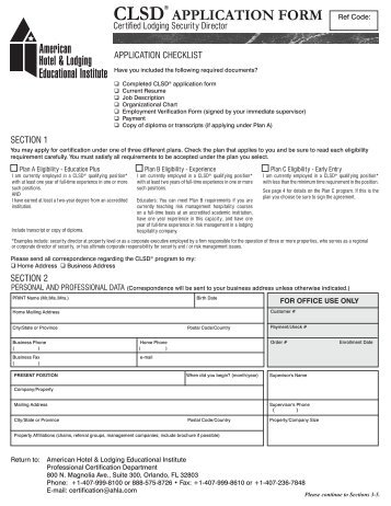 cht application form - American Hotel & Lodging Educational Institute