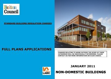 Fees for full plans applications for non-domestic buildings