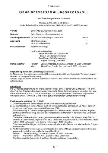 Gemeindeversammlung vom 07. März 2011 - Unterseen