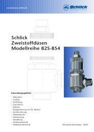 Schlick Zweistoffdüsen Modellreihe 825-854 - Düsen-Schlick GmbH