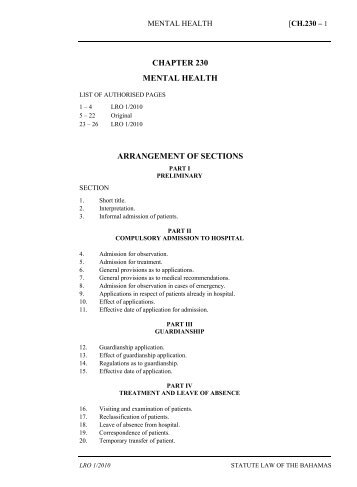 Mental Health Act - The Bahamas Laws On-Line