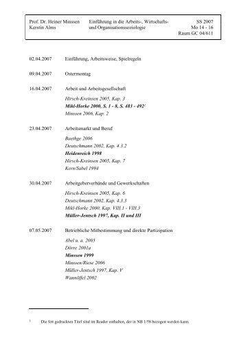 Prof. Dr. Heiner Minssen Einführung in die Arbeits-, Wirtschafts ... - Aog