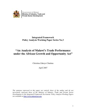 An Analysis of Malawi's Trade Performance under the African ...