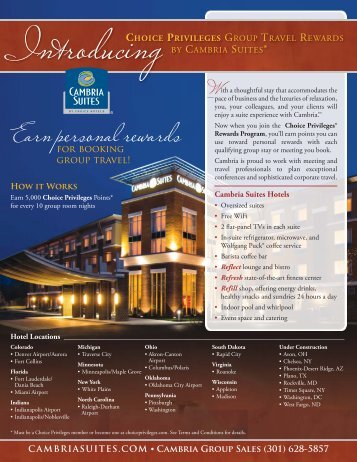 Cambria Group Sales (301) 628-5857 - Choice Hotels