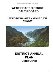 WCDHB District Annual Plan: 2009 - West Coast District Health Board