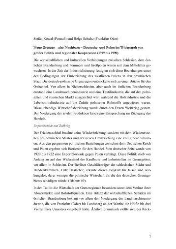 Geschichte der deutsch-polnischen Grenzregion - von Helga Schultz