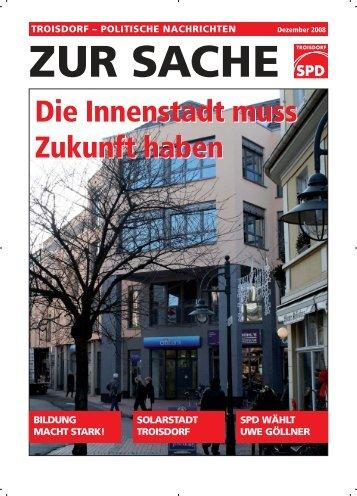 Zur Sache Dezember 2008 - SPD Troisdorf