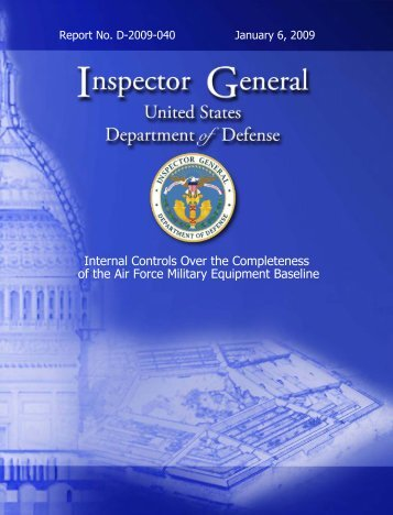Internal Controls Over the Completeness of the Air Force ... - Fedge