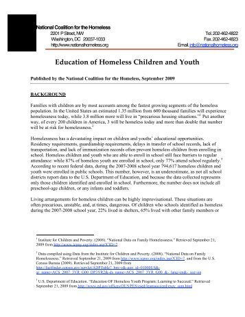 Education of Homeless Children and Youth - National Coalition for ...