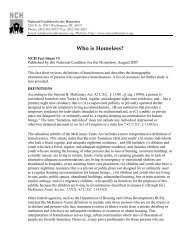 Who is Homeless? Fact Sheet #3 - National Coalition for the Homeless