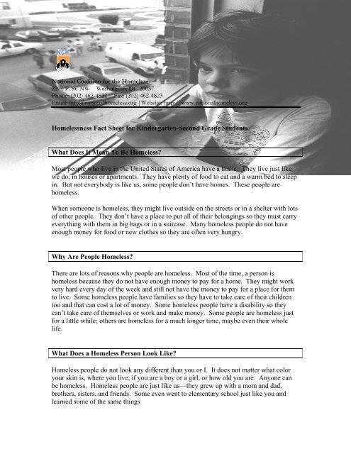 Homelessness Fact Sheet and Lesson Plan for Kindergarten