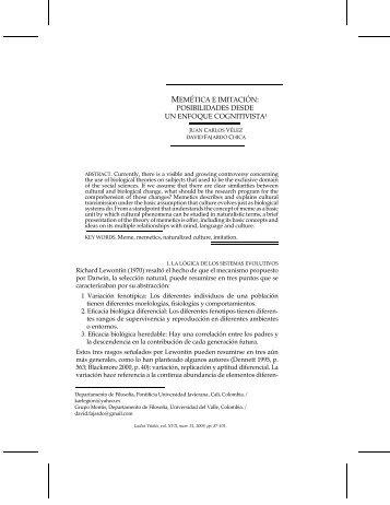 MEMÉTICA E IMITACIÓN: POSIBILIDADES DESDE ... - Ludus Vitalis