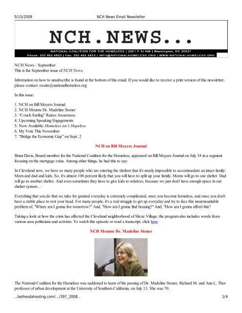 September - National Coalition for the Homeless