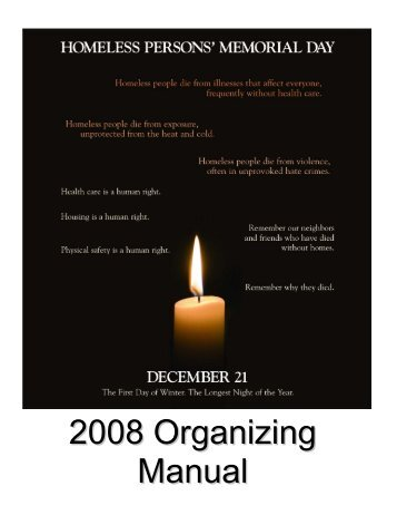 Organizing Manual National Homeless Persons' Memorial Day