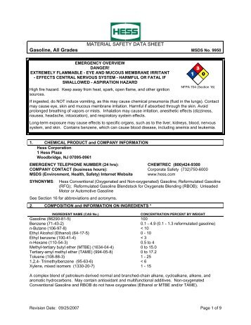Material safety data sheet gasoline, all grades msds no. - Hess