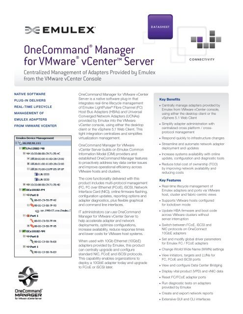 OneCommand Manager for VMware vCenter Data Sheet - Emulex