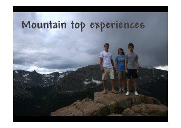 Five mountain top experiences - Port Elizabeth Church of Christ