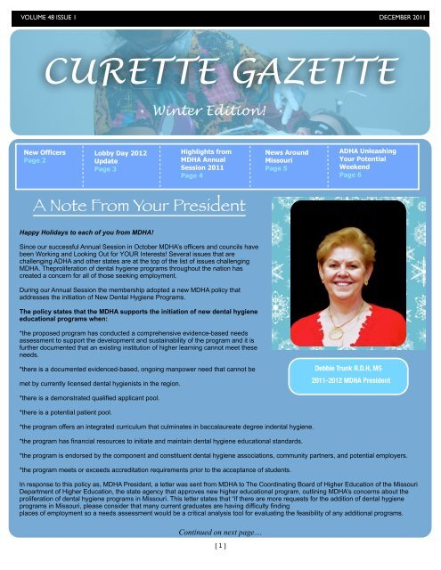 Curette Gazette December 2011 - Missouri Dental Hygienists ...