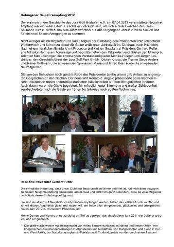 Bericht Neujahrsempfang 2012 - Jura Golf Park