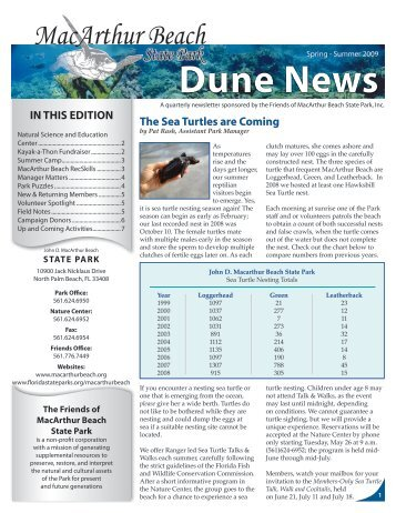 Dune News - John D. MacArthur Beach State Park