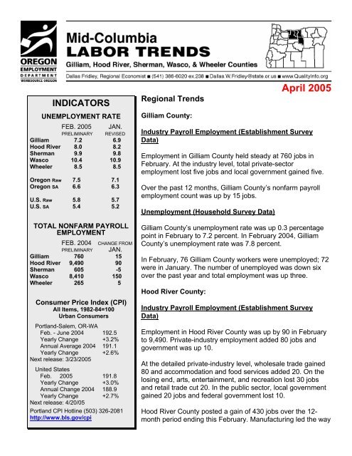 April 2005 - Oregon Labor Market Information System