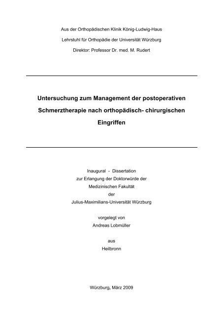 Untersuchung zum Management der ... - OPUS - Universität Würzburg