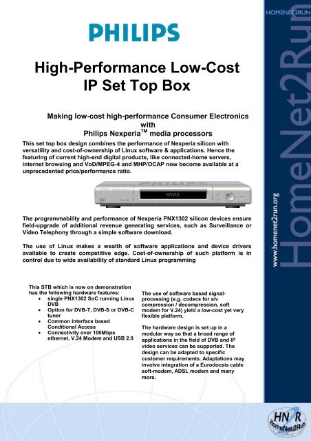 High-Performance Low-Cost IP Set Top Box - Hitech Projects