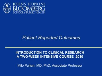 Patient Reported Outcomes - The Johns Hopkins Institute for Clinical ...