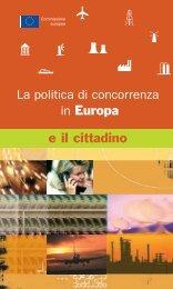 La politica di concorrenza in Europa e il cittadino - Università degli ...