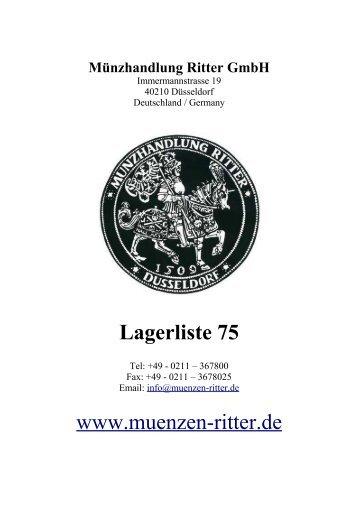 Lagerliste 75 www.muenzen-ritter.de - Münzhandlung Ritter GmbH