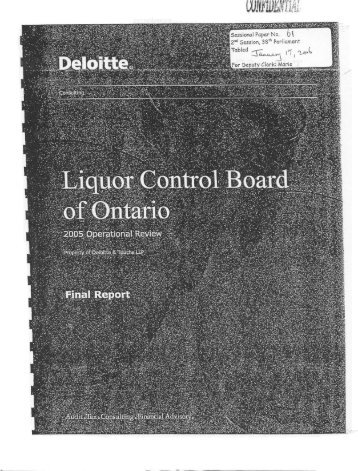 LCBO 2005 Operational Review - Deloitte & Touche LLP (PDF 5MB)