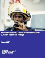 Tactical Interoperable Communications Scorecard Summary Report ...
