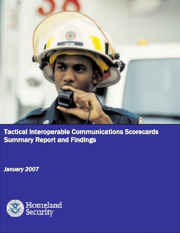 Tactical Interoperable Communications Scorecard Summary Report ...