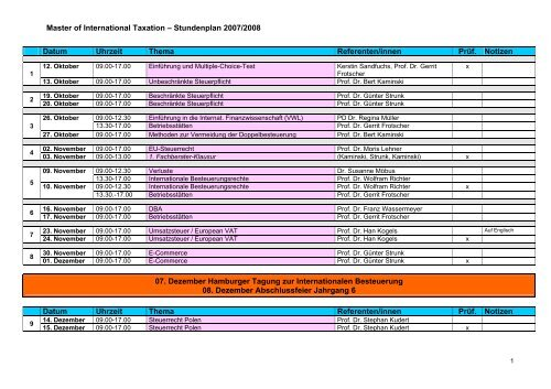 Master of International Taxation – Stundenplan 2007/2008 Datum ...
