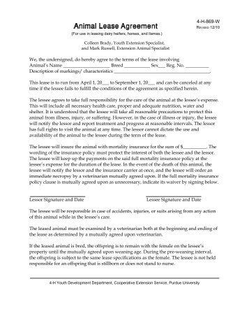 4 H Horse And Pony Lease Agreement Alachua County Extension