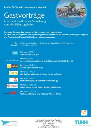 Gastvorträge Gastvorträge - Institut für Verkehrsplanung und Logistik ...