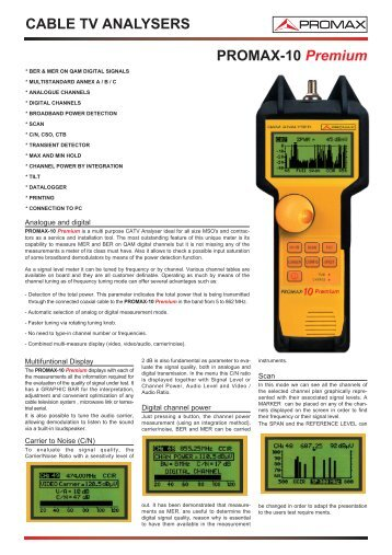 Cable TV analysers - PROMAX-10 Premium