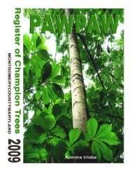 2009 Champion Tree Register - Montgomery County, Maryland