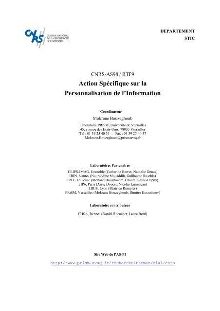 Action Spécifique sur la Personnalisation de l'Information - MRIM