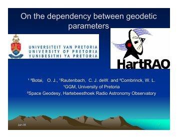 On the dependency between geodetic parameters - Inkaba.org