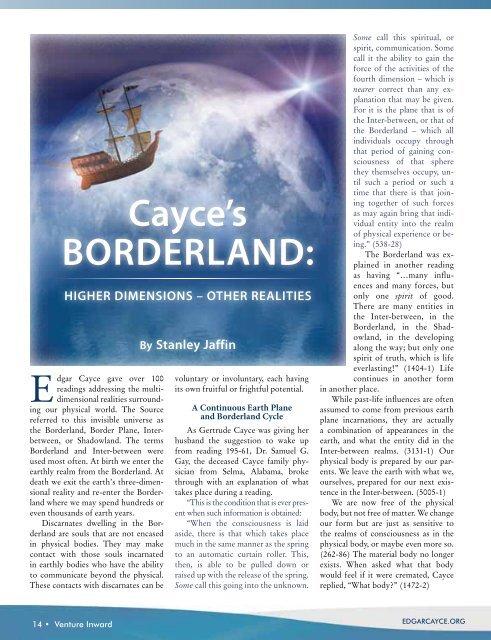 Cayce's Borderland: - Edgar Cayce
