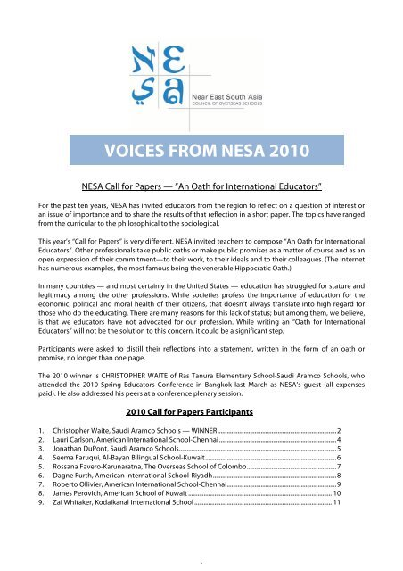 VOICES FROM NESA 2010